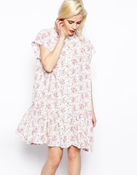 Asos Dress In Summer Floral Print With Dropped Waist