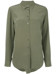 Equipment Long Shirt Women Silk Xs Green