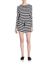 The Fifth Label Days Ending Striped Open Back Romper Black White