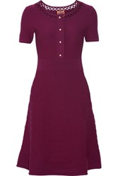 Tory Burch Ashlyn Open Knit Trimmed Stretch Wool Dress Plum