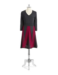 Spense Patterned Sweater Dress Charcoal