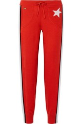 Bella Freud Billie Striped Cashmere Track Pants Red