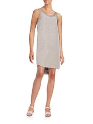 1 By O'2nd Silk Trim Cotton Tank Dress Light Grey