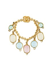 Chanel Vintage Poured Glass Charm Bracelet Metallic