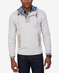 Nautica Men's Mix Media French Terry Hoodie Oatmeal Heather