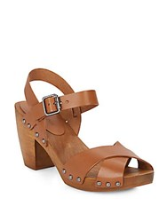 Saks Fifth Avenue Boston Leather Clog Sandals Saddle