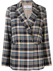 Closed Plaid Double Breasted Blazer Blue