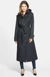 Petite Women's London Fog Hooded Long Single Breasted Trench Coat Black