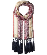 Vince Camuto Paisley Panels Oblong Beet Red Scarves