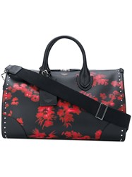 Bertoni 1949 Floral Print Studded Tote Calf Leather Black