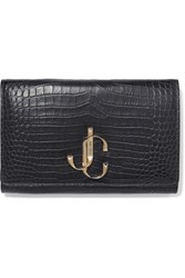 Jimmy Choo Varenne Croc Effect Leather Clutch Gray