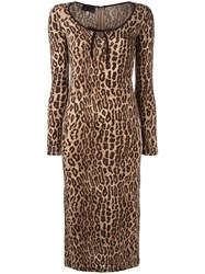 Dolce And Gabbana Vintage Leopard Print Dress Nude Neutrals
