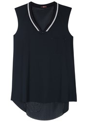 High At One Mesh And Jersey Tank Navy