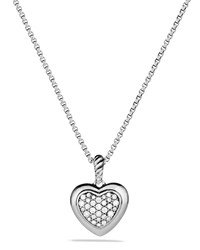 Cable Heart Pendant With Diamonds On Chain David Yurman Red