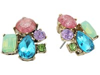 Betsey Johnson Mixed Multicolored Stone Cluster Button Stud Earrings Multi Earring