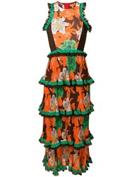 Etro Frilled Floral Print Dress Orange