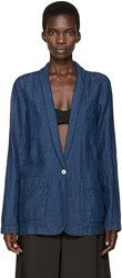 Raquel Allegra Blue Chambray Shawl Blazer