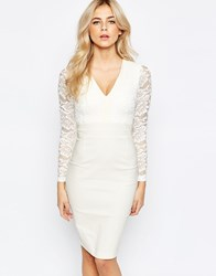 Vesper 2 In 1 Long Sleeved Lace Pencil Dress Cream
