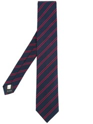 Kent And Curwen Striped Tie Silk Blue