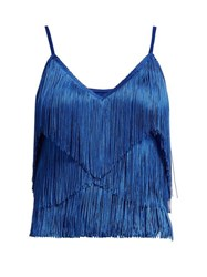 Norma Kamali Tiered Fringe Stretch Jersey Crop Top Blue