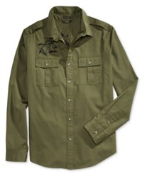 Guess Men's Twill Embroidered Military Shirt Green