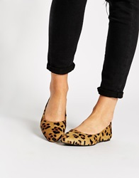 Warehouse Leopard Pointed Flat Shoes