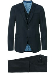Etro Striped Three Piece Formal Suit Polyamide Polyester Cupro Wool Blue