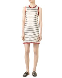 Gucci Cotton Blend Crewneck Sleeveless Dress Natural White Black Red Natural White B R
