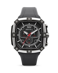Brera Orologi Supersportivo Square Black Ionic Plated Stainless Steel Watch With Black Dial And Black Rubber Strap 46Mm