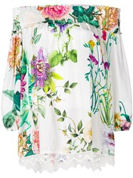P.A.R.O.S.H. Floral Print Off The Shoulder Blouse White