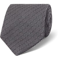 Tom Ford 8Cm Herringbone Woven Silk And Cotton Blend Tie Charcoal