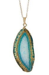 Leila Gold Rimmed Agate Slice Pendant Necklace No Color