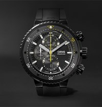 Oris Prodiver Dive Control Limited Edition Automatic Chronograph 51Mm Dlc Coated Titanium And Rubber Watch Black