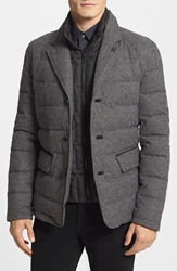 Vince Camuto Flannel Quilted Down And Feather Jacket Grey
