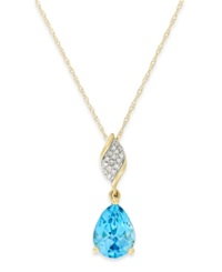 Macy's Blue Topaz 2 1 4 Ct. T.W. And Diamond Accent Pendant Necklace In 10K Gold Yellow Gold
