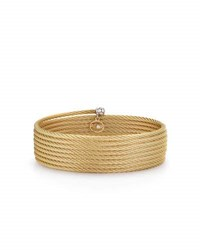 Alor Classique Cable Wrap Bracelet W Diamond Charm Yellow