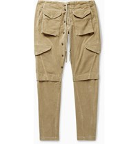 Greg Lauren Slim Fit Tapered Cotton Corduroy Cargo Trousers Brown
