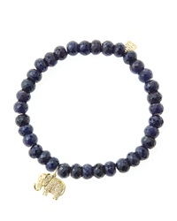 Sydney Evan 6Mm Faceted Sapphire Beaded Bracelet With 14K Gold Diamond Small Elephant Charm Made To Order