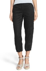 Women's Eileen Fisher Organic Linen Cargo Ankle Pants Black