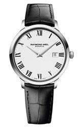Raymond Weil Toccata Leather Strap Watch 39Mm Black White Silver
