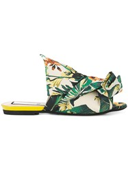 N 21 No21 Floral Abstract Bow Mules Green