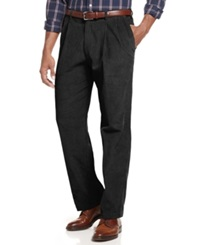 Haggar Pants Corduroy 8 Wale Classic Fit Pleated Pants Black