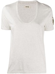 Zadig And Voltaire Tino Mini Cannetille T Shirt Brode Neutrals