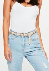 Missguided Nude Woven Chain Belt