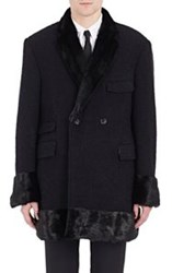 Thom Browne Mink Trimmed Double Breasted Coat Black