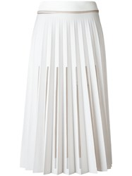 Ssheena Cut Out Pleated Skirt White