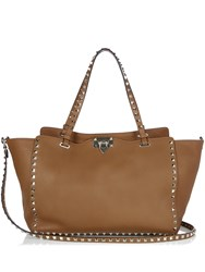 Valentino Rockstud Grained Leather Tote Tan