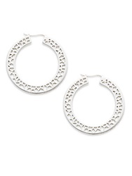 Ron Hami Lace White Topaz And Sterling Silver Cutout Hoop Earrings 1.5