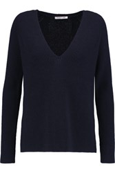 Helmut Lang Ribbed Wool And Cashmere Blend Sweater Midnight Blue