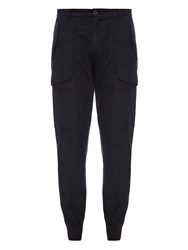 Helmut Lang Exposed Pocket Cotton Flannel Track Pants